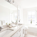 Master ensuite with separate bath and shower of Amherst Lane townhomes built by Balandra Homes