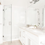Master ensuite with rainshower of Amherst Lane townhomes built by Balandra Homes