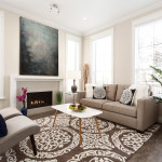 Living room with gas fireplace of Amherst Lane townhomes built by Balandra Development in Richmond, BC